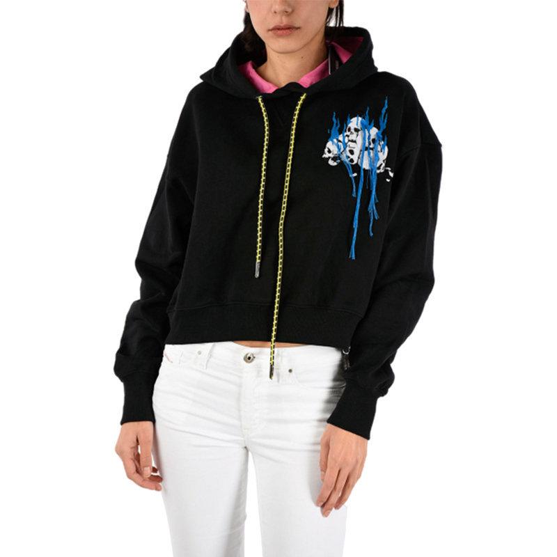 diesel f olec a 0baps womens pullover sweatshirt black crop top hoodie jumper