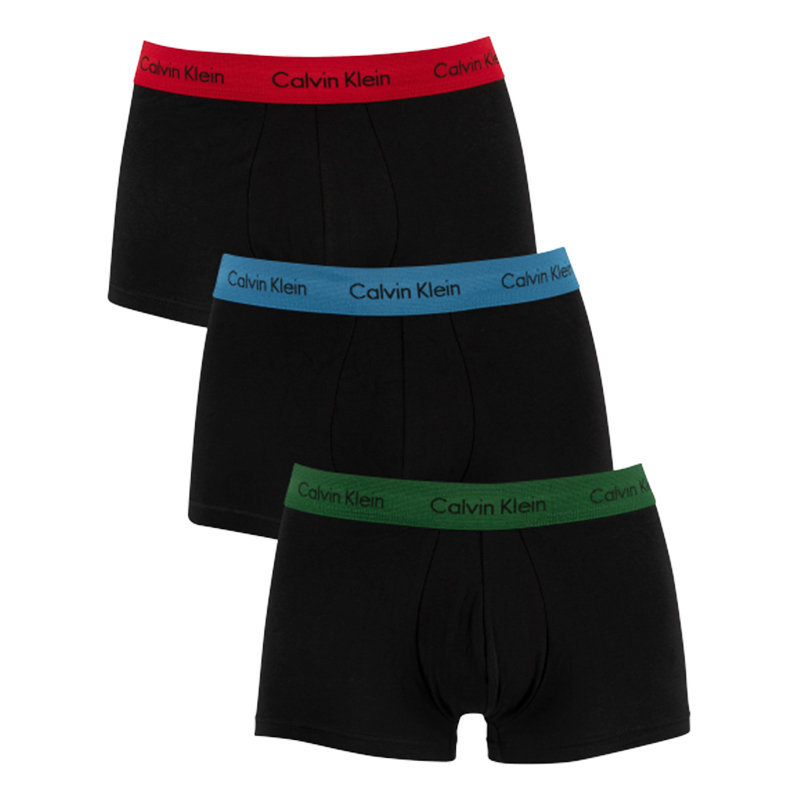 calvin klein mens low rise trunks ck black 3x pack stretch cotton boxers shorts