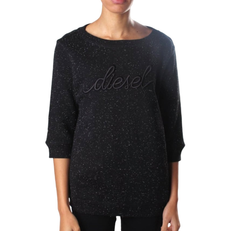 diesel f radys 3d gamd womens sweatshirt black crew neck long sleeve embroidered