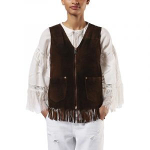 diesel l chim 7cl womens vest jacket loose fit casual genuine leather waistcoat 1 of 8