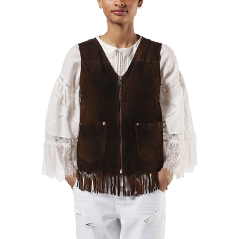 diesel l chim 7cl womens vest jacket loose fit casual genuine leather waistcoat