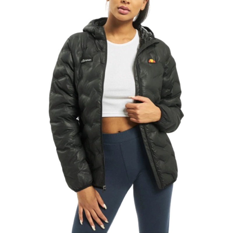 ellesse calonazzo src07232 womens puffer jacket quilted hooded padded coat black