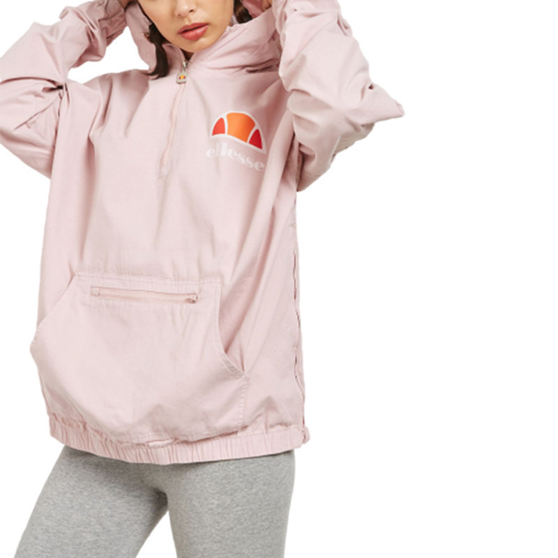 ellesse silvia womens hooded jacket pullover oversized lightweight pink half zip