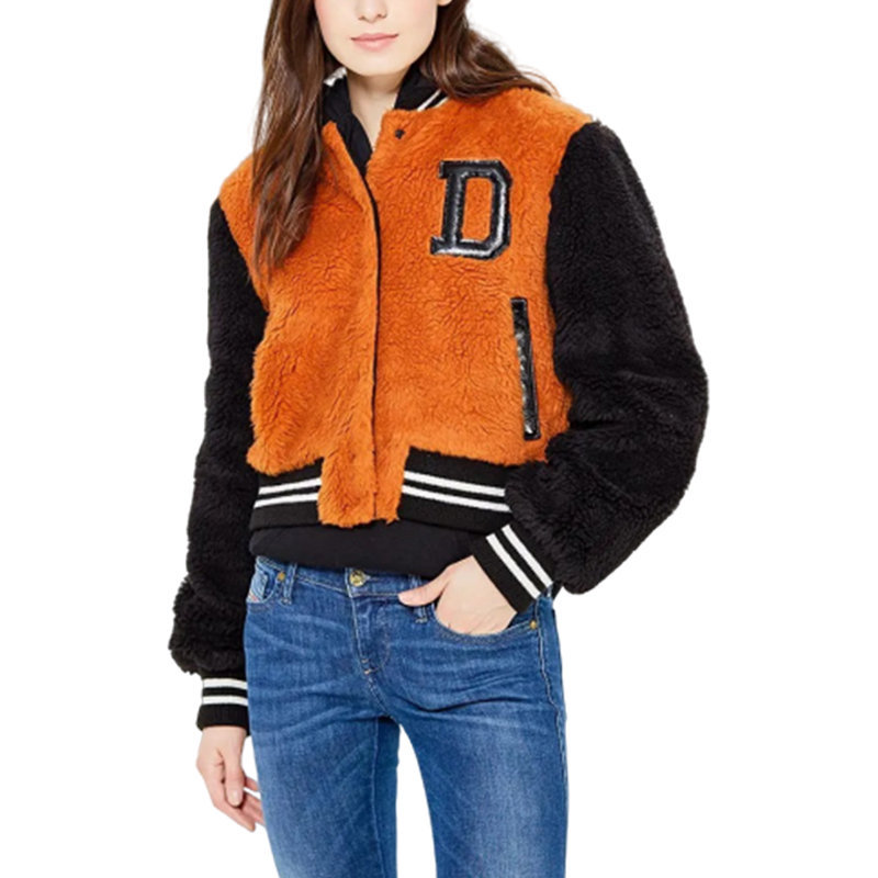 diesel l mila 385 womens bomber jacket baseball varsity winter outwear wool coat