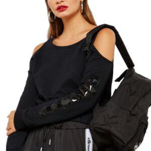 ellesse italia cucinotta six04852 womens fleece toptrack casual black crop top