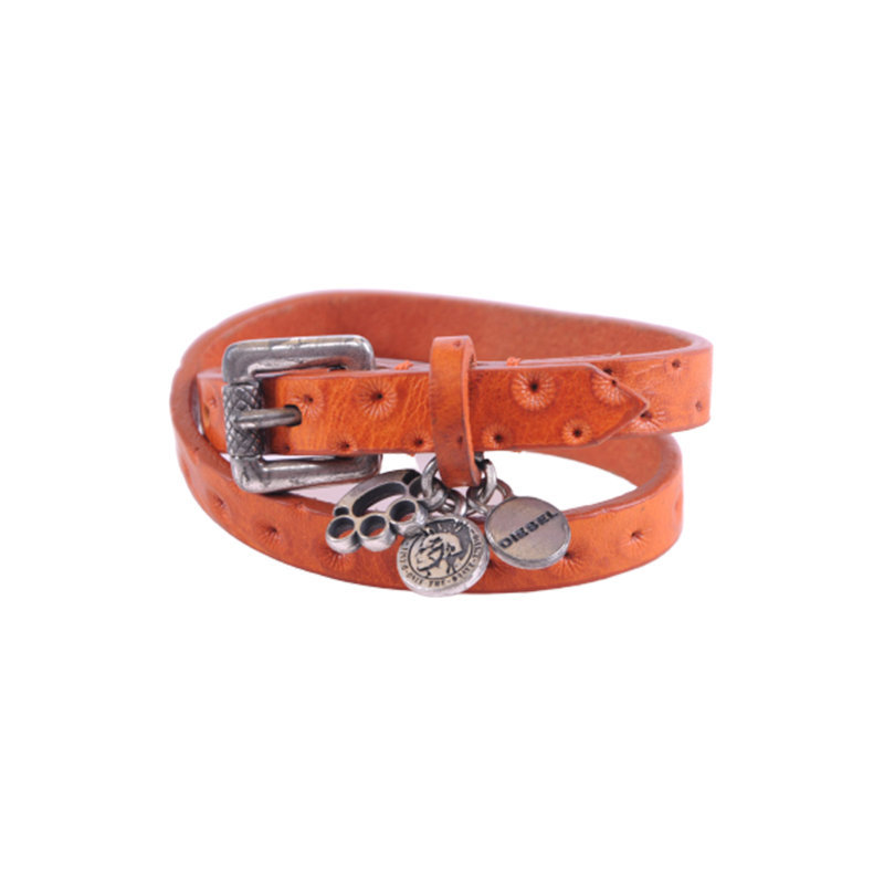 diesel mens bracelets womens genuine leather wristband brown dog pows metal logo