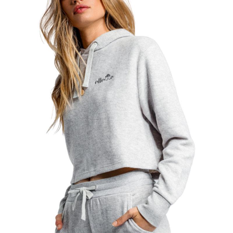 ellesse liveri siw04380 womens crop hoody casual sweatshirt pullover grey hoodie