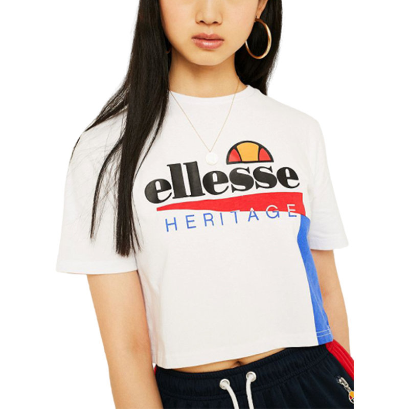 ellesse cerezza sgy0551 womens crop t-shirt crew neck summer sports casual tops