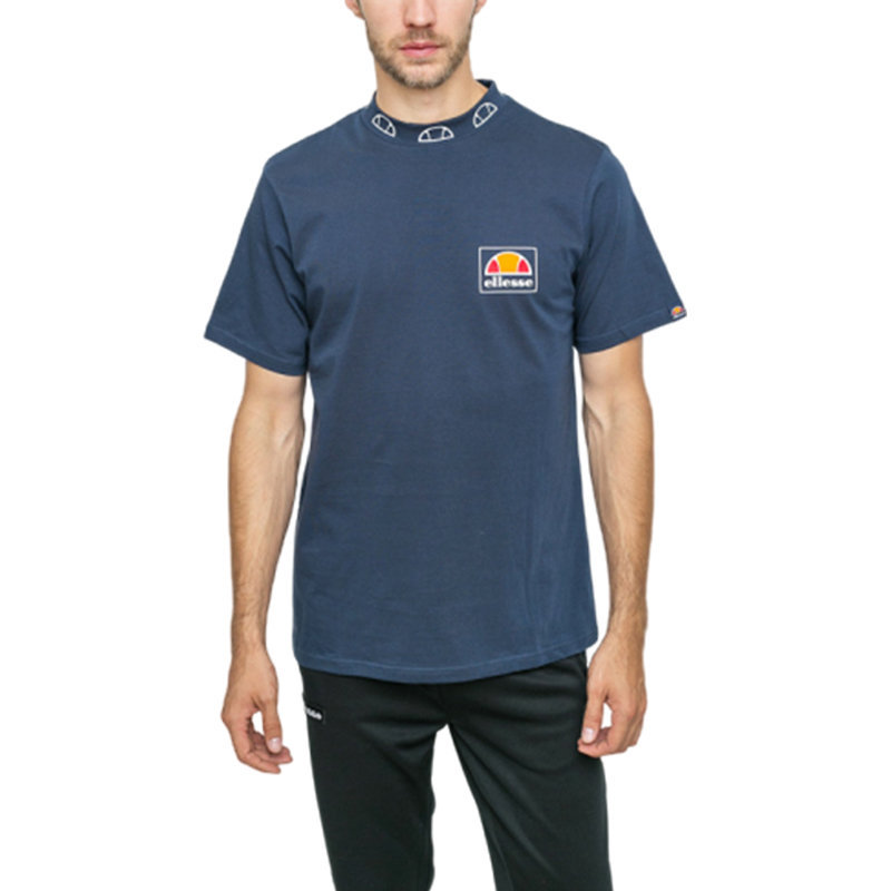 ellesse panzanini shu03664 mens t-shirt crew neck short sleeve navy casual tee