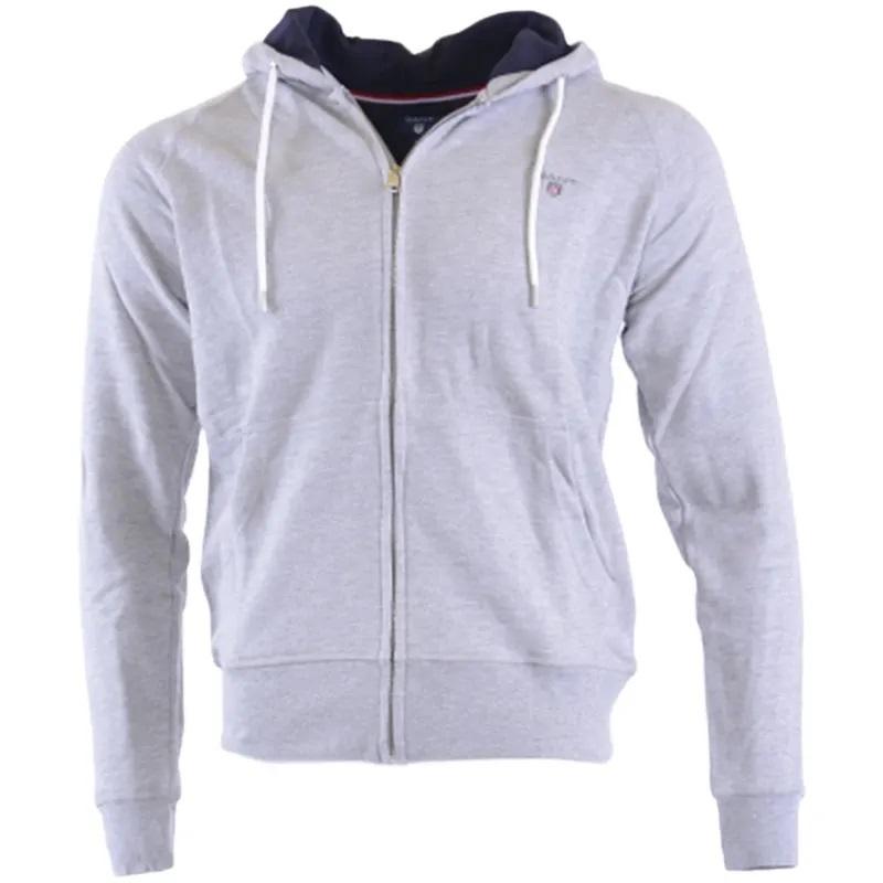 GANT ORIGINAL Mens Hoodie Long Sleeve Sweatshirt Full Zip Hoody Jumper Grey Marl