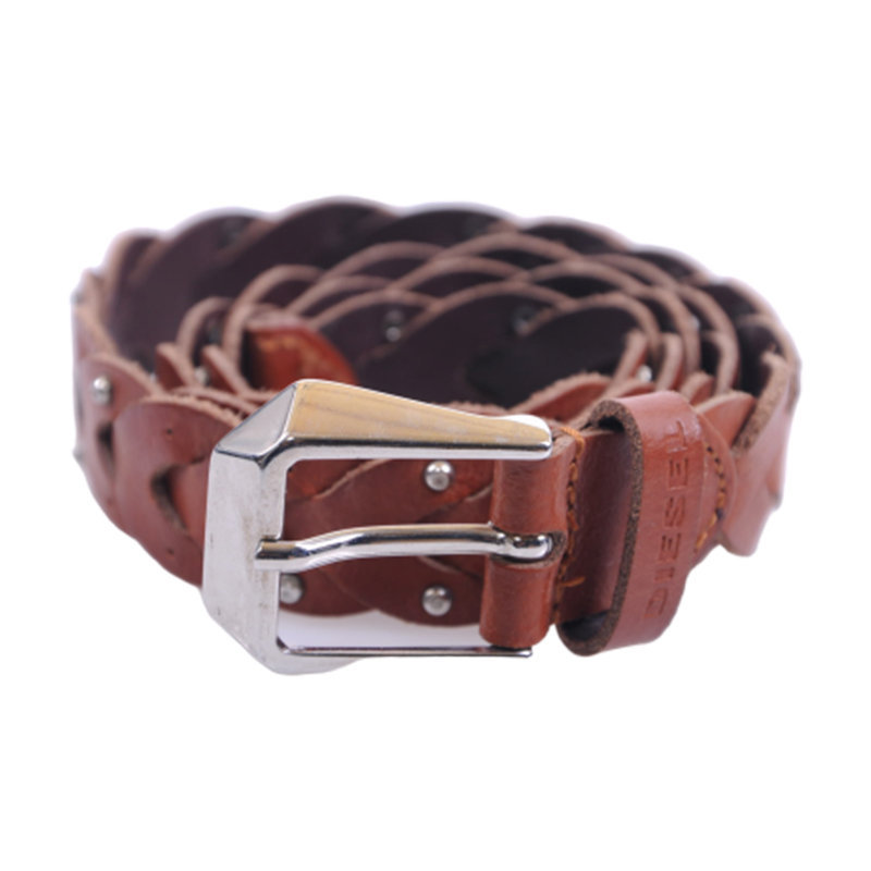 diesel b-kyrnha womens belts vintage metal ladies brown leather braided belts