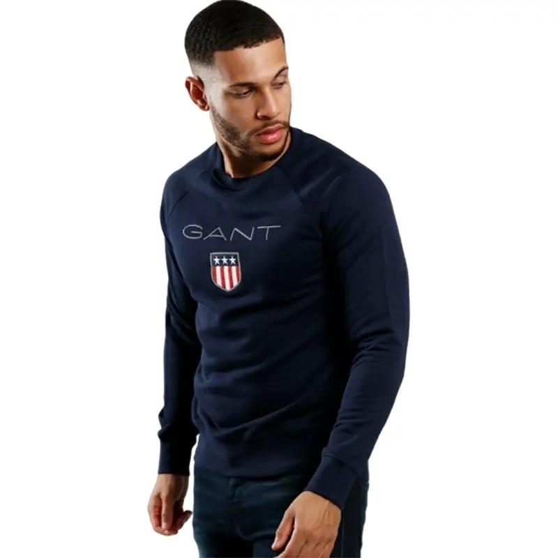 GANT SHIELD Mens Sweatshirt Crew Neck Long Sleeve Pullover Jumper Evening Blue
