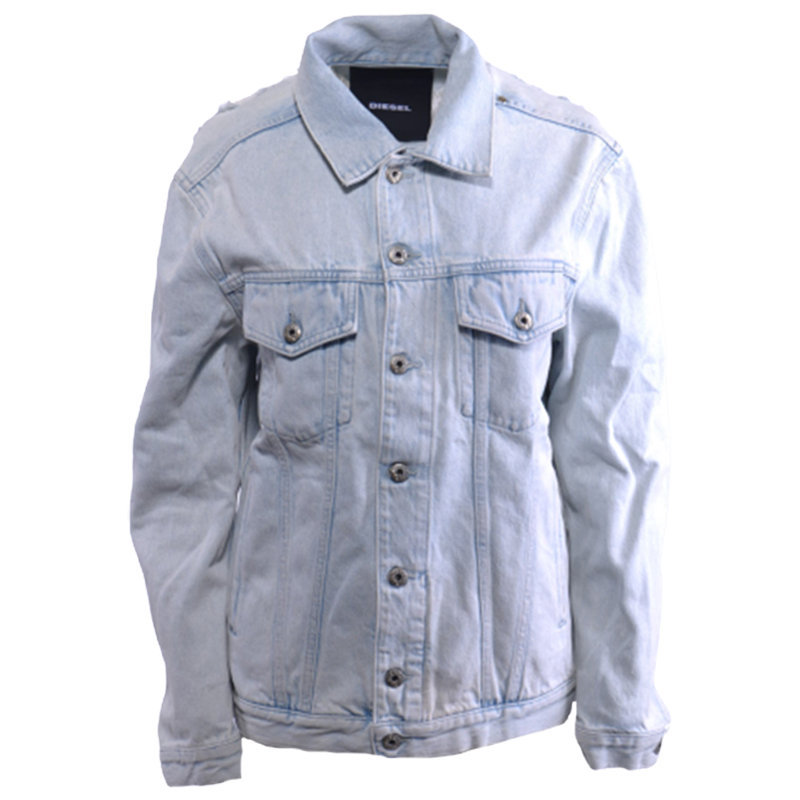 diesel de vise 084ir womens denim jacket distressed denim light blue casual coat