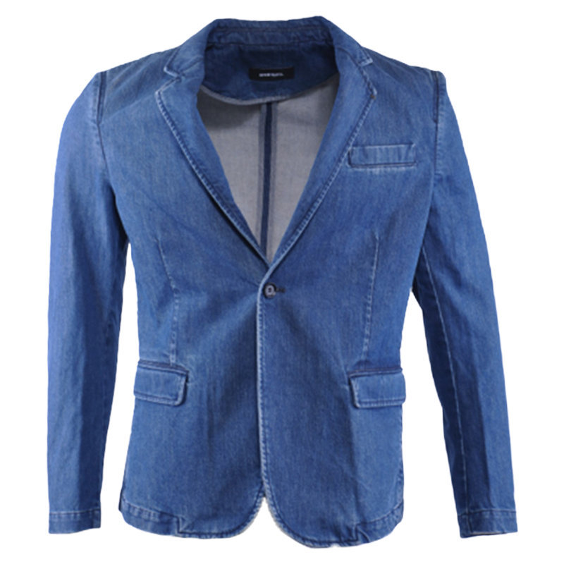diesel d ever 0wajn mens denim jacket casual slim fit blue blazer lapel neckline
