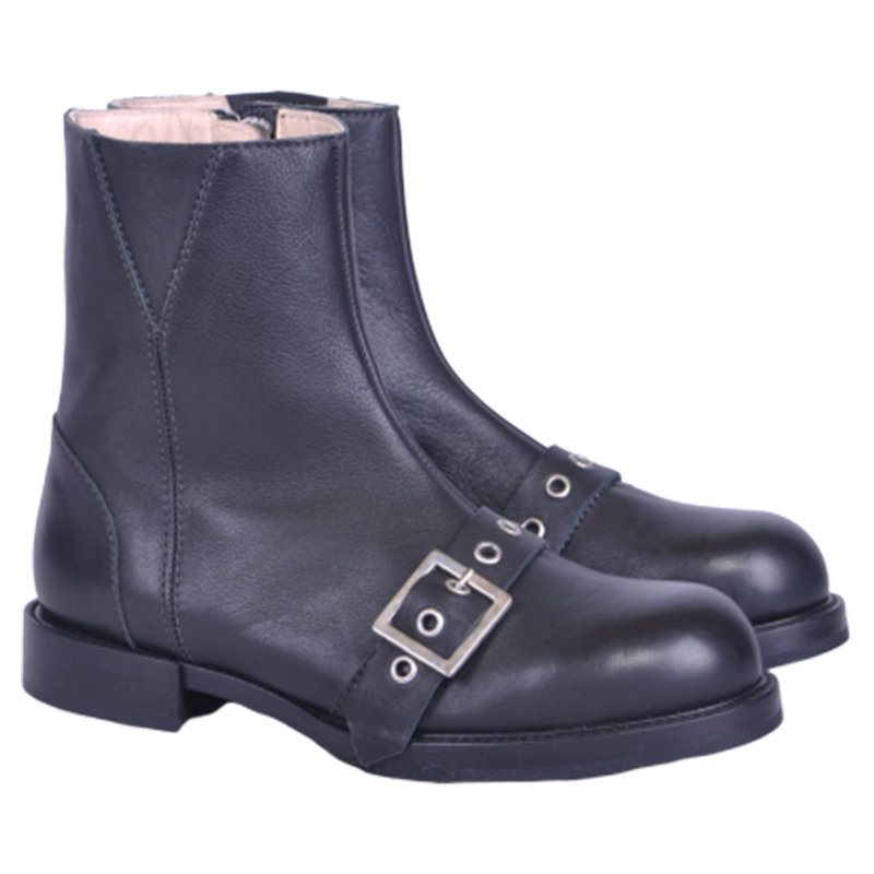 diesel komb womens boots black leather high neck casual chester shoes rrp-229.99