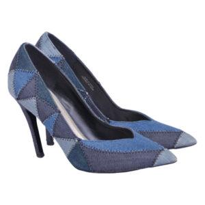 diesel offbeat d yvas womens high heels shoes denim slip on pump shoes rrp- ?170