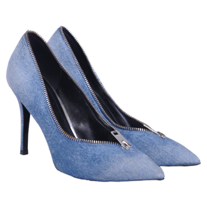 diesel offbeat heels elisah zip womens high heel blue slip on pump shoes rrp-190