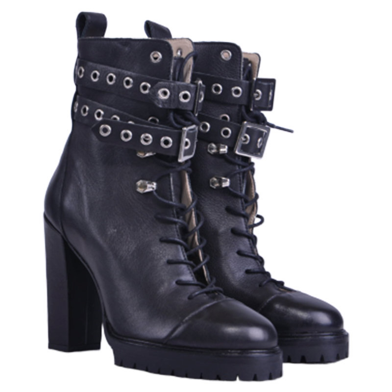 diesel womens boots genuine leather lace up casual high heel black shoes rp-?250