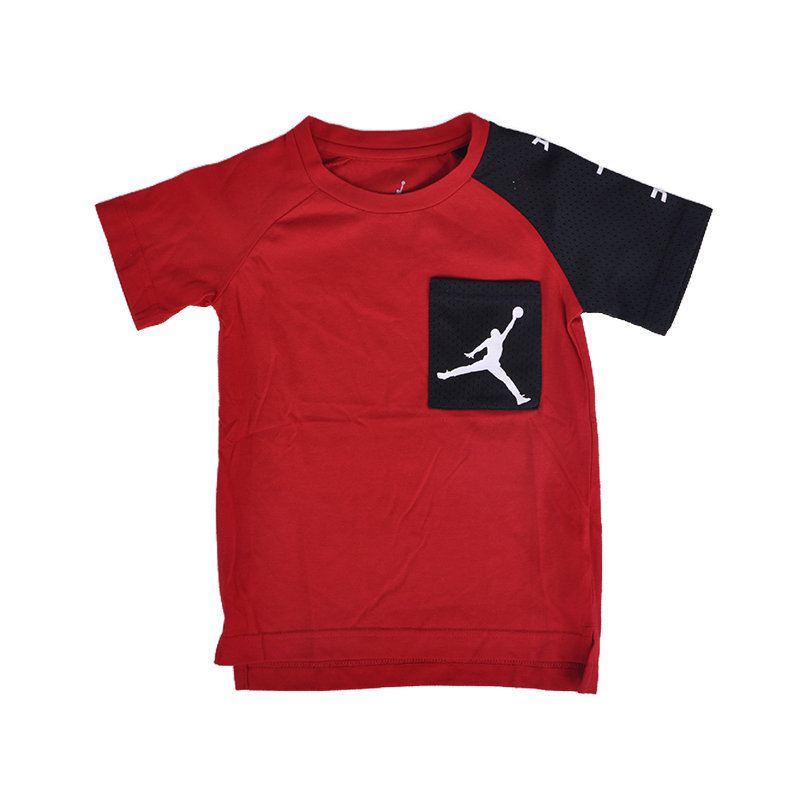jordan air boys t-shirt 4 yrs chest logo short sleeve crew neck summer red tee