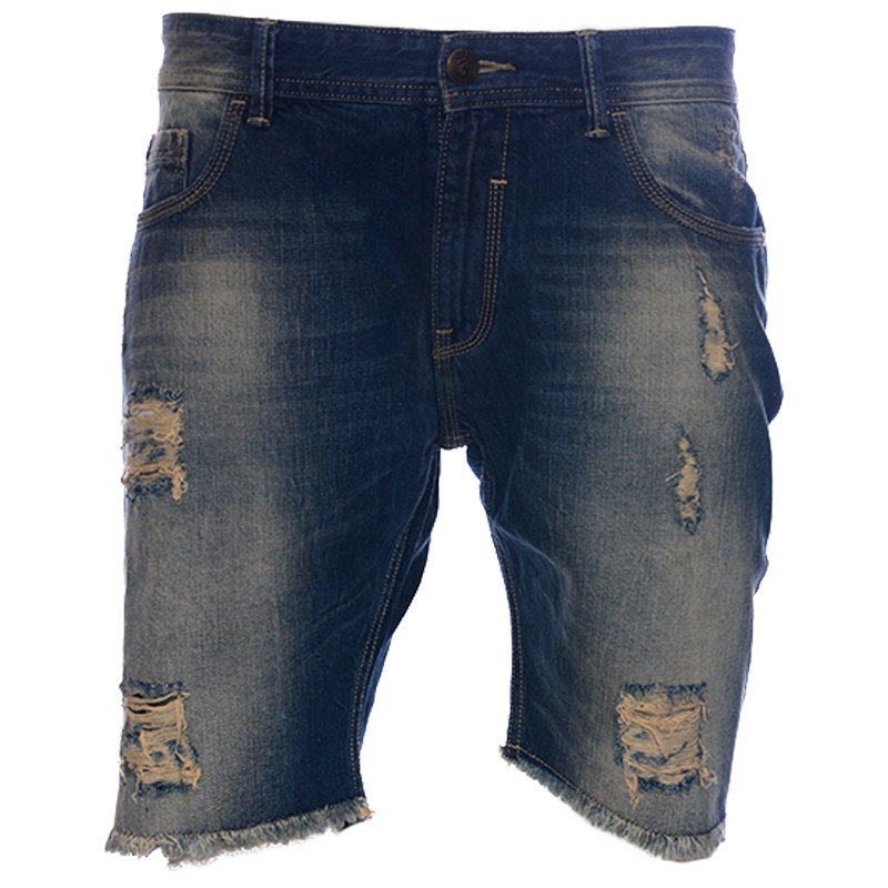 ruf & tuf mens denim shorts casual summer beachwear distressed jeans short pants
