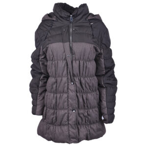 samoon womens puffer jacket outdoor quilted hooded parka long coat padded grey
