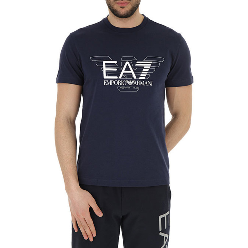 ARMANI EA7 3ZPT45 Mens Cotton T-Shirt Emporio Armani Summer Tops Navy Blue Tees