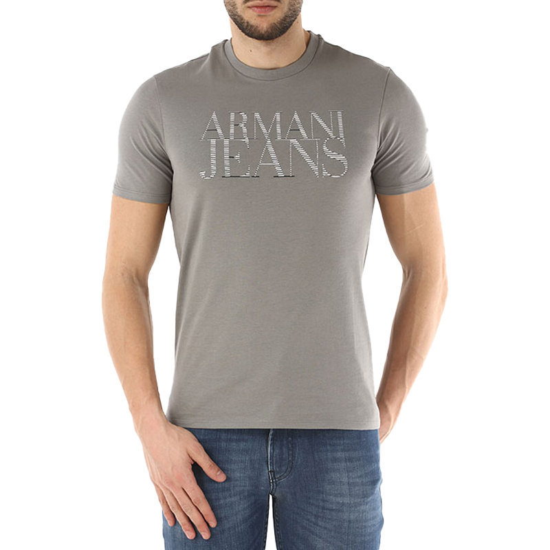 armani jeans 3y6t22 mens t shirt cotton tees casual tops crew neck grey m-xxl