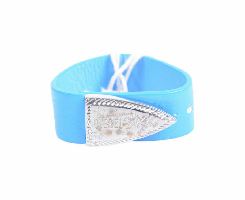 diesel ahes 0wacm unisex bracelets genuine leather womens blue wristband italy
