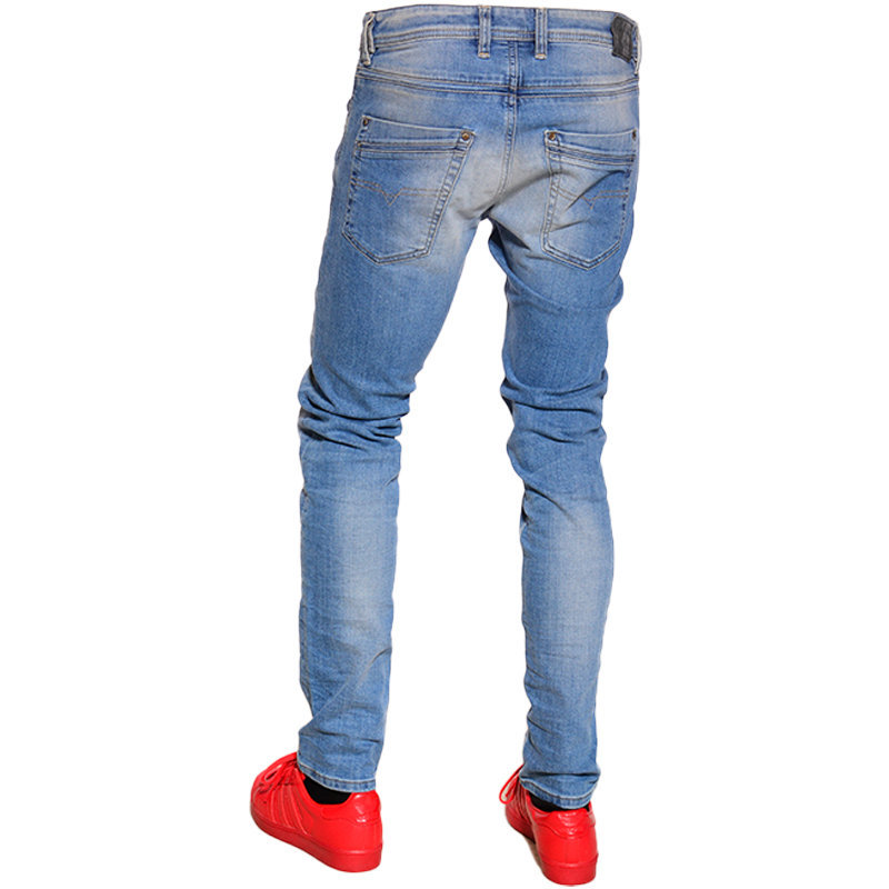 diesel krayver r2h48 mens denim jeans regular slim carrot faded trouser pants