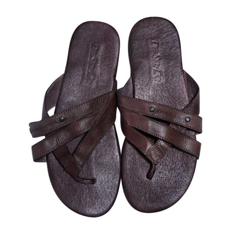 diesel mannu mens genuine leather sandal brown beach slippers slip on flip flops