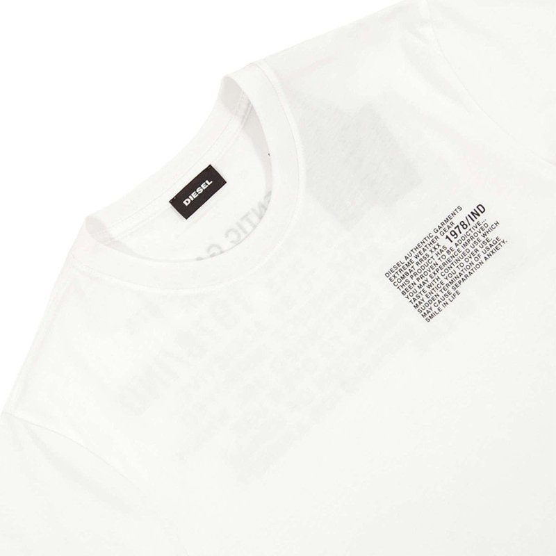 diesel t just y1 mens t-shirt short sleeve crew neck cotton tee casual white top