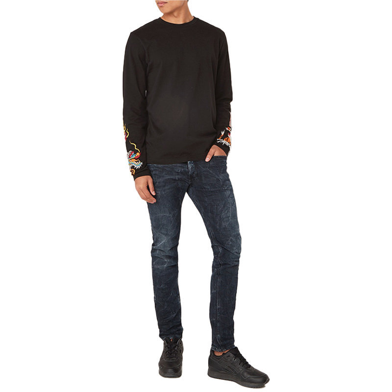 diesel t ronny long mens t-shirt long sleeve crew neck tees casual black tops