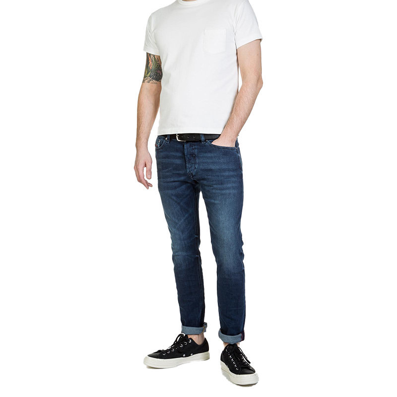diesel tepphar 084sy mens denim faded jeans lyocell stretch regular slim carrot