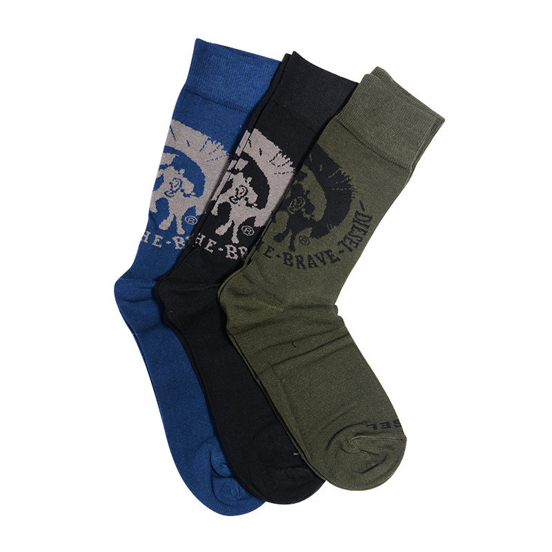diesel the seasonal mens socks mohawk 3 pack knee long socks mohican head size-l