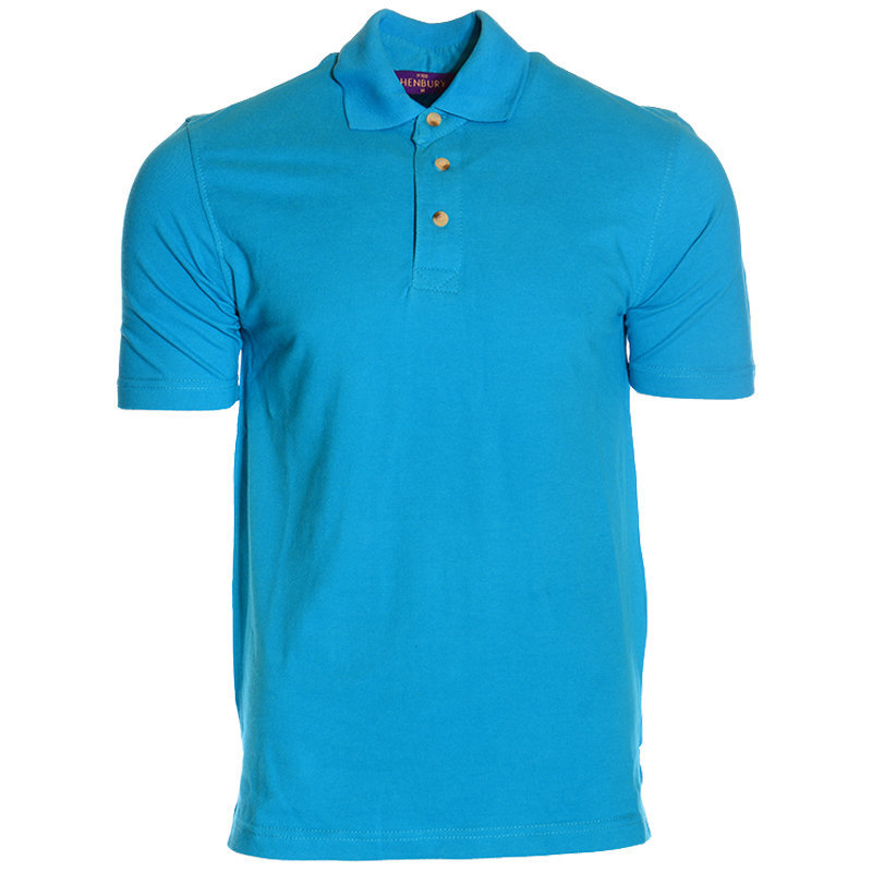 new mens henbury polo t-shirt gents summer golf tee cotton blue t shirt m xl xxl