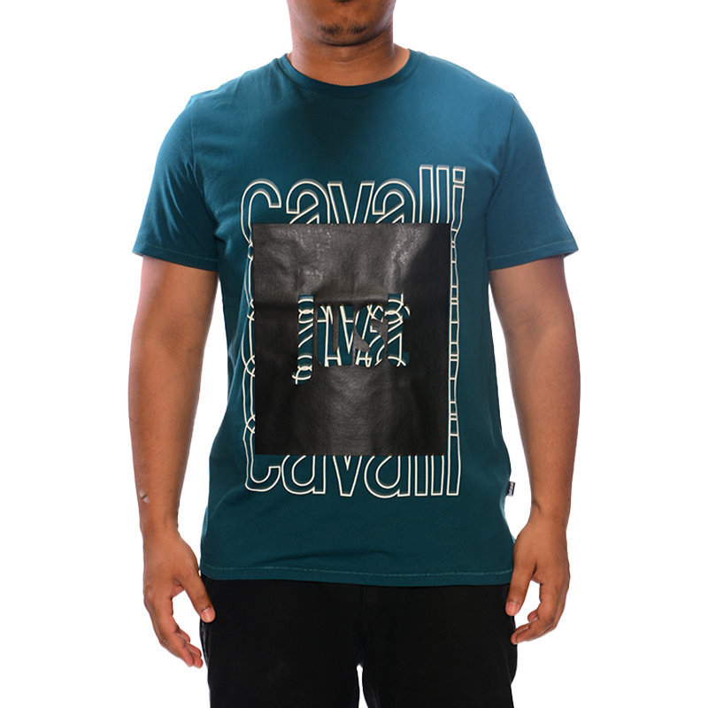 just cavalli s01gc0513 mens t-shirt printed crew neck tops cotton teal green tee