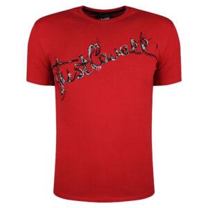 just cavalli s03gc0368 mens t-shirt logo print short sleeve tops cotton red tee