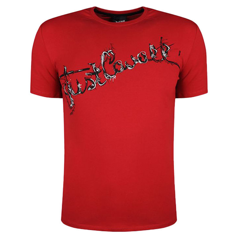 just cavalli s03gc0368 mens t-shirt logo print short sleeve tops cotton red tee