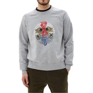 just cavalli s01gu0045 852m mens sweatshirt printed casual pullover grey jumper