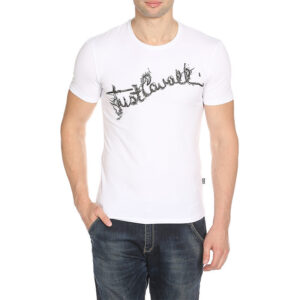 just cavalli s03gc0368 mens t-shirt logo print crew neck tops cotton white tee