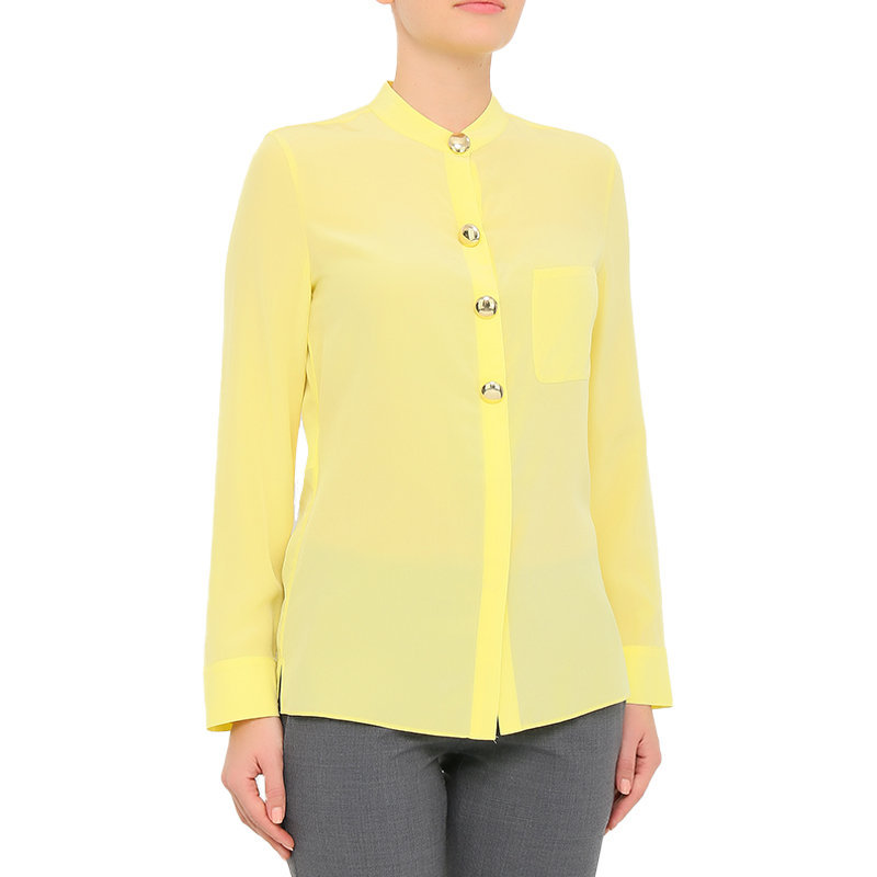 emporio armani u2c50t womens silk shirt full sleeve casual party wear yellow top