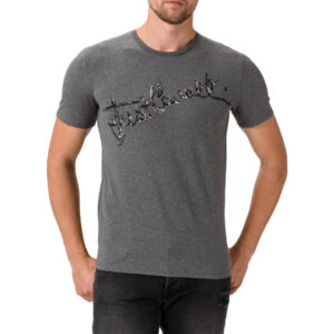just cavalli s03gc0368 mens t-shirt logo print short sleeve tops cotton grey tee