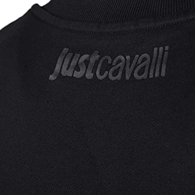 just cavalli s01gu0061 900 mens sweatshirt printed ribbed casual pullover jumper