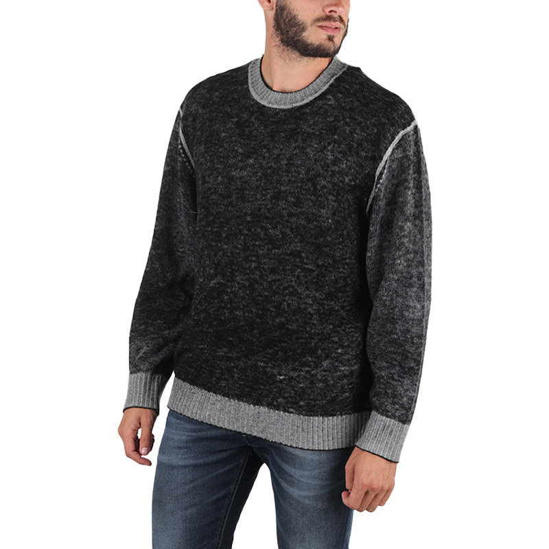 diesel k conf mens sweatshirt crew neck ribbed cuff pullover casual black jumper