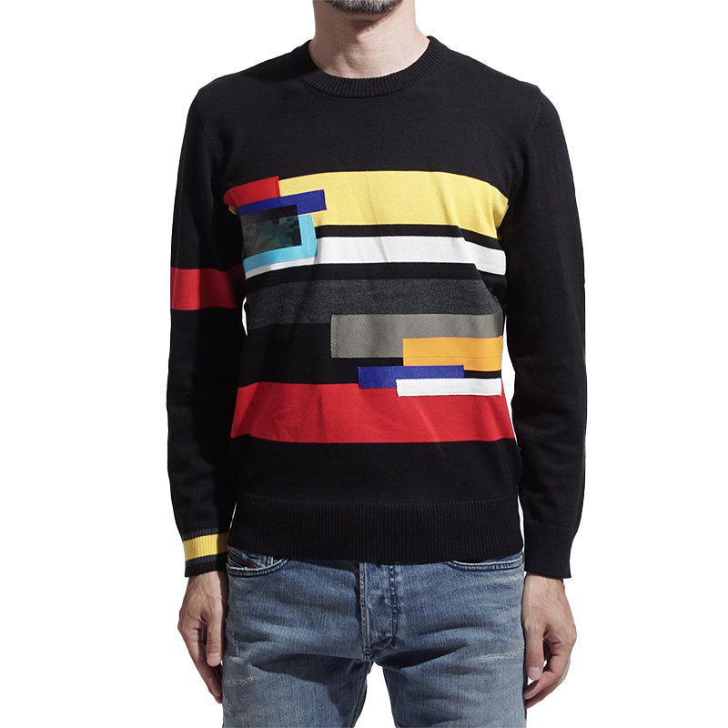 diesel android 0gask mens sweatshirt crew neck slim pullover cotton black jumper