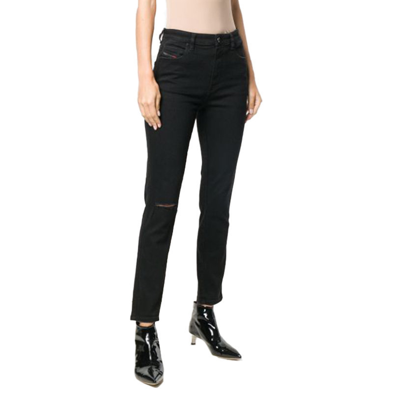 diesel babhila 084zn womens denim jeans stretch ripped trouser casual black pant