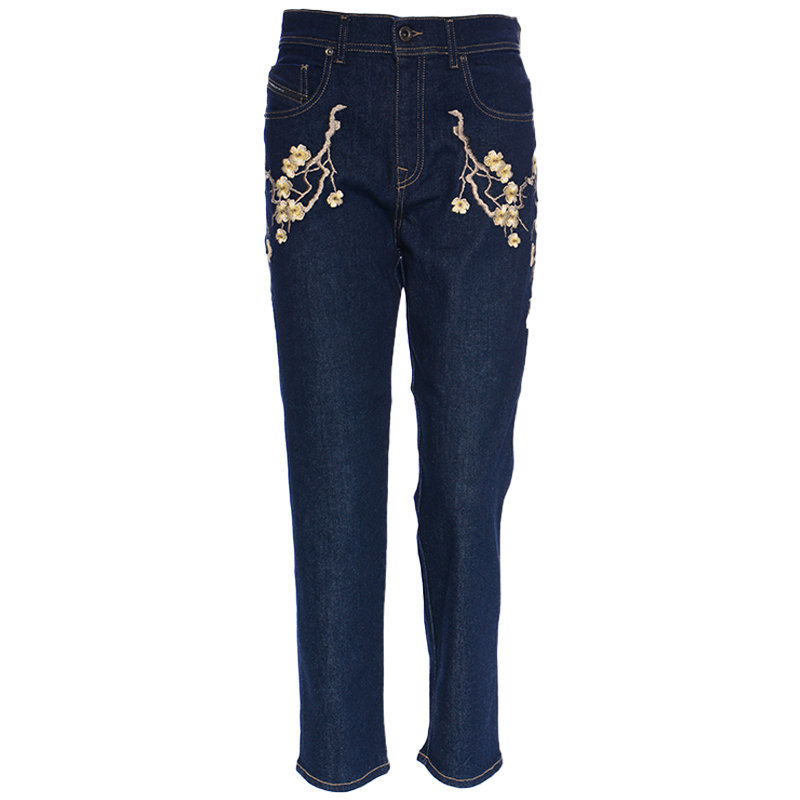 diesel black gold type 1799 bg8yl womens denim jeans embroidery blue pant italy