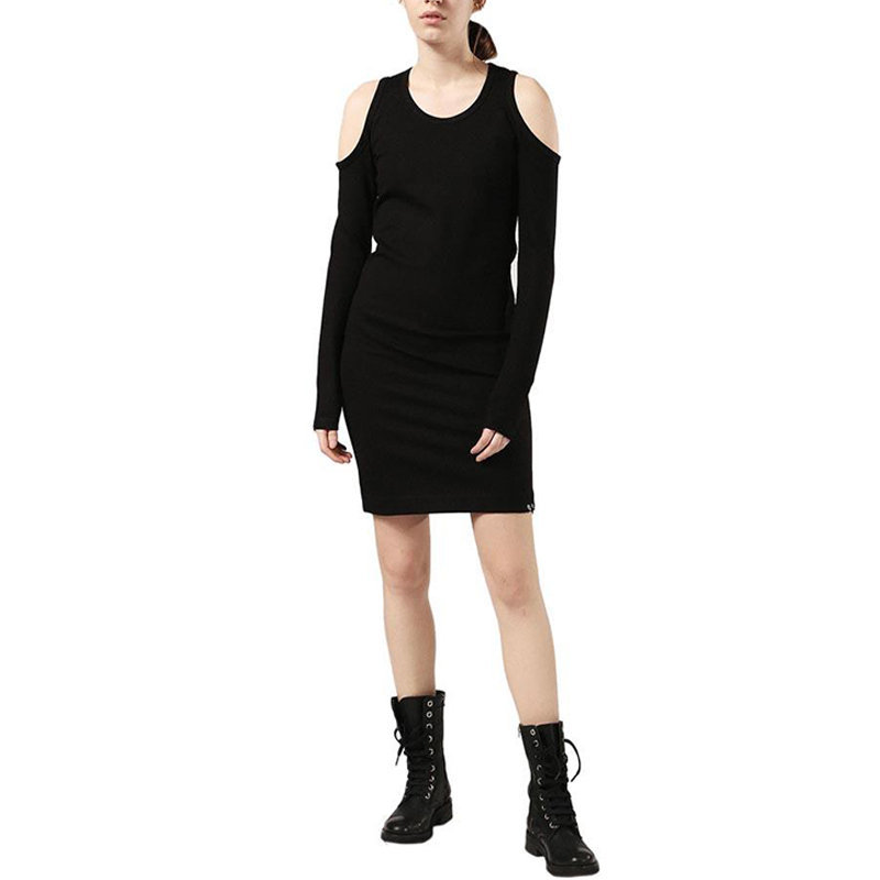 diesel d cecyl 0dapr womens short dress cotton black long sleeve crew neck tops