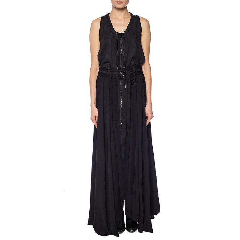 diesel d gisela 0eatd womens long dress sleeveless raw finish cotton black dress
