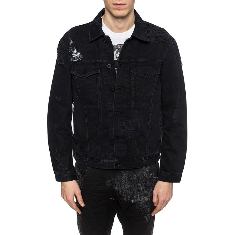 diesel d hill mens denim jacket long sleeve casual button black jeans jacket